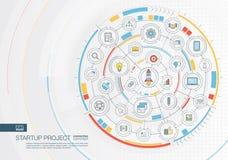 Projet de démarrage abstrait, fond de développement Digital relient le système aux cercles intégrés, icônes plates de couleur Illustration de Vecteur
