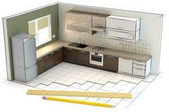 Projet de la cuisine, illustration 3D illustration de vecteur