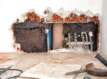 Projet de restauration dans un bâtiment Photos stock