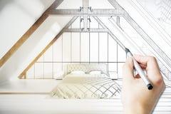 Projet masculin de chambre à coucher de dessin de main illustration de vecteur