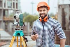 Projet masculin de profession d'ingénierie de construction de bâtiments de travail images libres de droits