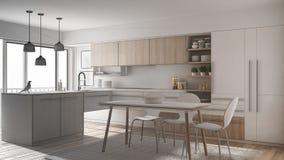 Projet non fini de cuisine minimalistic moderne avec la table de salle à manger, le tapis et la fenêtre panoramique, intérieur d' illustration libre de droits