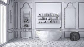 Projet non fini de la salle de bains scandinave blanche, abstra de croquis illustration stock