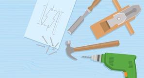 Projet qualifié de charpentier pour le matériel d'installation de l'illustration plate de vecteur de vue supérieure de constructi Photo libre de droits