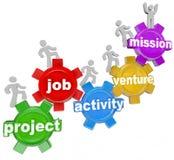 Projet Team Working sur Job Activity Venture Mission illustration libre de droits