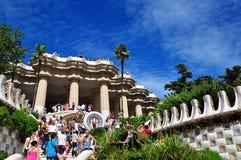 Projetado por Antoni Gaudi, parque Guell Barcelona, Spain foto de stock
