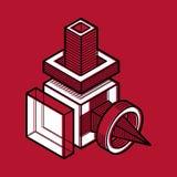 Projetando a forma abstrata, figura poligonal do vetor 3d Fotografia de Stock