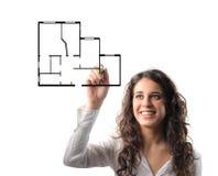 Projetando uma casa Imagens de Stock