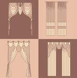 Projete a decoração interior isolada das cortinas e das cortinas da ilustração do vetor dos ícones das ideias coleção realística Fotografia de Stock