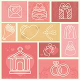 Projete elementos com casamento e ame ícones Foto de Stock Royalty Free