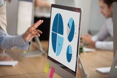 Projete estatísticas no monitor do desktop na mesa de escritório, fim acima imagens de stock