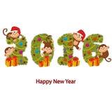 Projete o ano novo 2016 com macacos e árvore de Natal Fotos de Stock Royalty Free