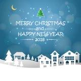 Projete o cartão do Natal, e a mensagem do ano 2018 novo feliz ilustração royalty free