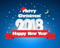 Projete o cartão do Natal, e a mensagem do ano 2018 novo feliz ilustração stock