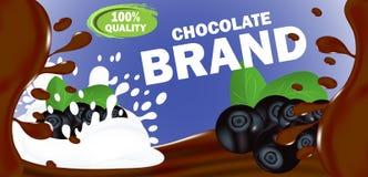 Projete o chocolate leitoso ou amargo horizontal da etiqueta do molde com enchimento do mirtilo Vetor ilustração royalty free