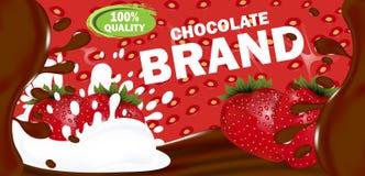 Projete o chocolate leitoso ou amargo horizontal da etiqueta do molde com enchimento da morango Vetor ilustração royalty free