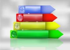 Projete o molde passo a passo do infographics com botões e setas Foto de Stock