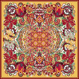 Projete para o bolso quadrado, xaile, matéria têxtil, lenço, descanso Mão colorida que tira o teste padrão floral Imagens de Stock
