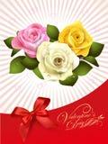 Projete para o cartão feliz do dia de Valentim com aumentou no abtr Fotografia de Stock Royalty Free