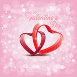Projete para o dia de Valentim com cruz vermelha do coração no backg de Abtract Foto de Stock Royalty Free