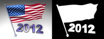 projeto 2012 e bandeira dos EUA em um pólo ilustração stock