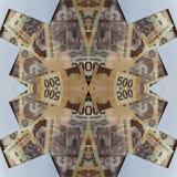 projeto abstrato com as cédulas mexicanas de 500 pesos Foto de Stock