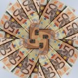 projeto abstrato com 50 euro- contas, fundo e textura Foto de Stock Royalty Free