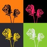 Projeto abstrato da ilustração das rosas na cor verde e amarela cor-de-rosa alaranjada   cartão da decoração para o Valentim Foto de Stock Royalty Free
