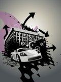 Projeto abstrato do edifício com carro ilustração do vetor