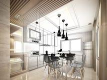 Projeto abstrato do esboço da cozinha interior Fotos de Stock