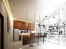 Projeto abstrato do esboço da cozinha interior ilustração royalty free