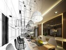 Projeto abstrato do esboço do jantar interior Imagem de Stock