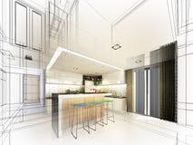 Projeto abstrato do esboço do quarto interior Imagens de Stock