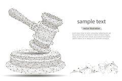 Projeto abstrato do martelo de um juiz, sob a forma das linhas e dos pontos em um fundo branco com espaço para o texto Vetor Foto de Stock