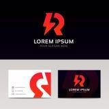 Projeto abstrato do vetor do sinal da empresa do ícone do logotipo de R Foto de Stock