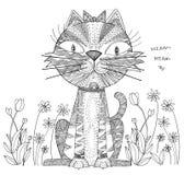 Projeto abstrato dos desenhos animados do gato da arte preto e branco Imagem de Stock