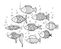 Projeto adulto da página do livro para colorir com peixes Imagens de Stock Royalty Free