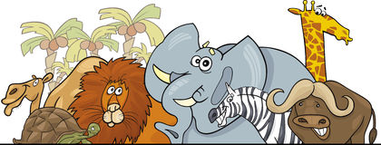 Projeto africano dos animais selvagens do safari dos desenhos animados Imagens de Stock