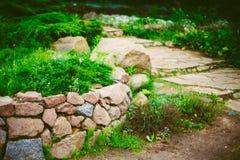 Projeto ajardinando do jardim Cama de flor, árvores verdes Imagem de Stock