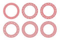Projeto ajustado do vetor do quadro vermelho chinês do círculo Fotografia de Stock