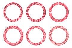 Projeto ajustado do vetor do quadro vermelho chinês do círculo Fotos de Stock Royalty Free