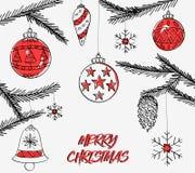 Projeto alegre bonito de Crhistmas com sino de Natal ilustração do vetor