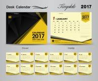 Projeto 2017 amarelo ajustado do molde do calendário de mesa Imagem de Stock