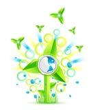 Projeto ambiental do moinho de vento Ilustração do Vetor