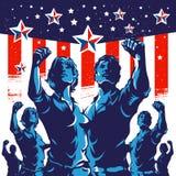 Projeto americano do cartaz da revolução do punho do protesto da multidão ilustração do vetor
