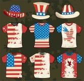 Projeto americano do t-shirt de Grunge ilustração royalty free