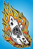 Projeto ardente da tatuagem do ás Fotografia de Stock