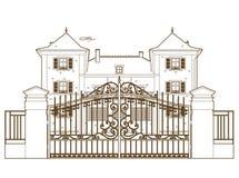 Projeto atrás da porta do castelo Fotografia de Stock