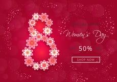 Projeto atrativo da bandeira para a venda do dia das mulheres com flores do papel-corte e fundo cor-de-rosa ilustração stock