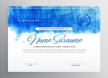 Projeto azul abstrato do certificado do diploma ilustração royalty free